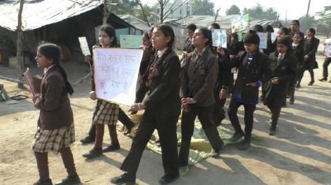 रैली निकाल ग्रामीणों को सफाई के लिए किया प्रेरित
