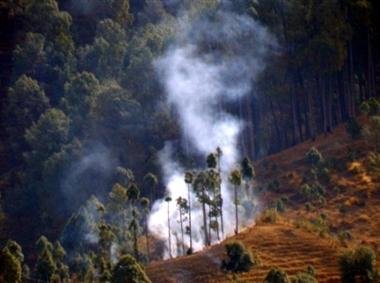 किरगांव और खड़किनी के जंगलों में फिर लगी आग