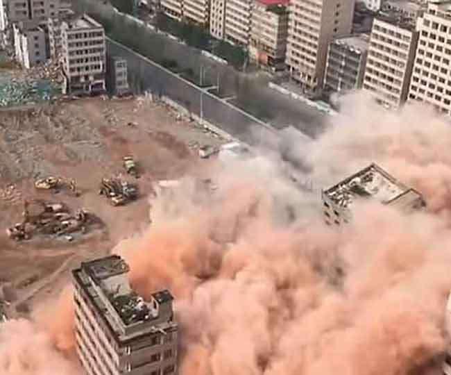 देखते ही देखते 20 सेकेंड में चीन ने उड़ा दीं दर्जनों इमारतें
