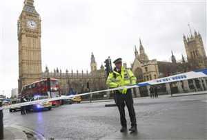 लंदन में ब्रिटिश संसद के पास गोलीबारी