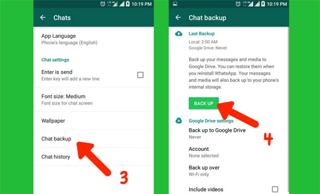 how to take backup from whatsapp web