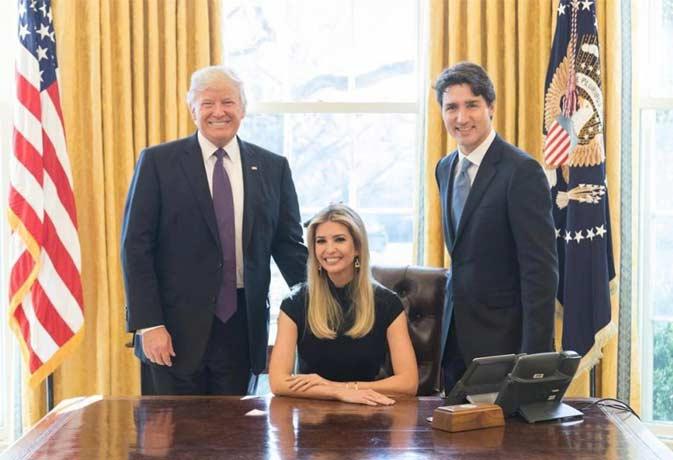 पिता को खड़ा कर राष्ट्रपति की कुर्सी पर बैठ गई ट्रंप की बेटी, मचा बवाल