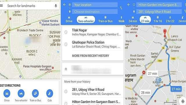 Image result for गूगल मैप टू-व्हीलर मोड