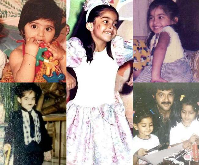 Image result for Sonam kapoor  bachpan pics