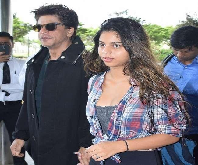 Image result for बेटी सुहाना का हाथ थामे एयरपोर्ट पर दिखे शाहरुख खान