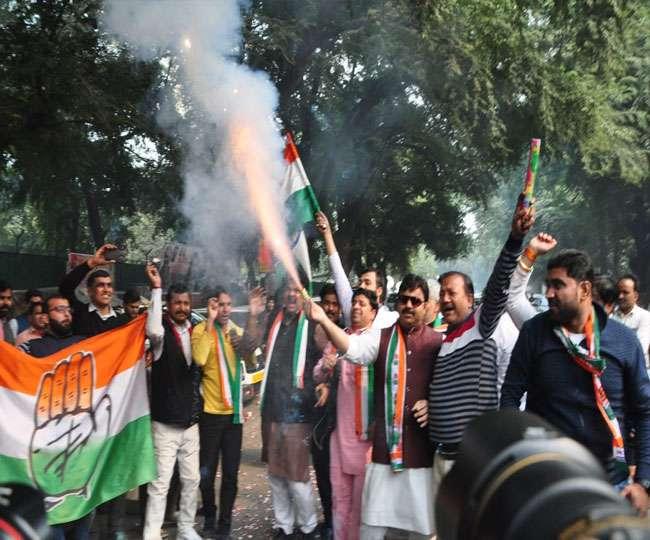 MP-राजस्थान व छत्तीसगढ़ के रुझानों से उत्साहित कांग्रेेसी, दिल्ली दफ्तर पर जश्न का माहौल