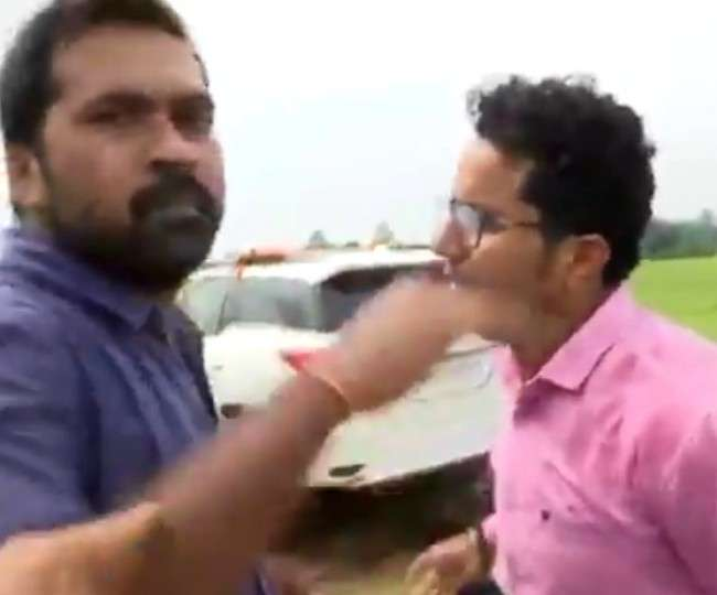 प्रियंका वाड्रा के सोनभद्र दौरे के दौरान कांग्रेस नेता ने मीडिया कर्मी से कह दिया 'ठोंक दूंगा', वीडियो वायरल