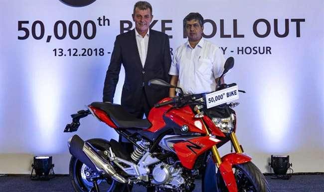 TVS ने भारतीय प्लांट से रोल आउट की 50,000वीं BMW G 310 सीरीज