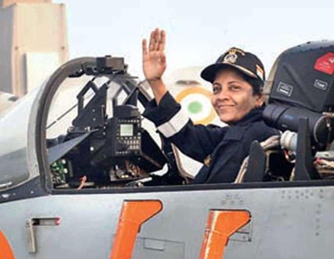 Image result for लड़ाकू विमान में उड़ान भरने वाली पहली महिला रक्षा मंत्री