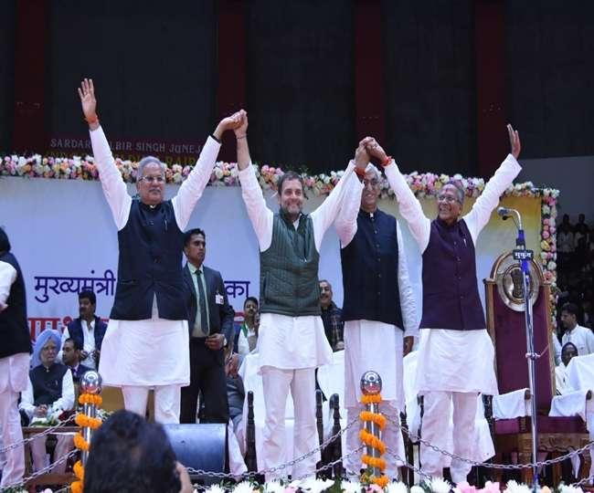 कमांडर की भूमिका में राहुल : भूपेश, सिंहदेव और साहू का हाथ उठाकर दिया एकजुटता का संदेश