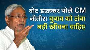 वोट डालकर बोले CM नीतीश-  चुनाव को इतना लंबा नहीं खींचना चाहिए
