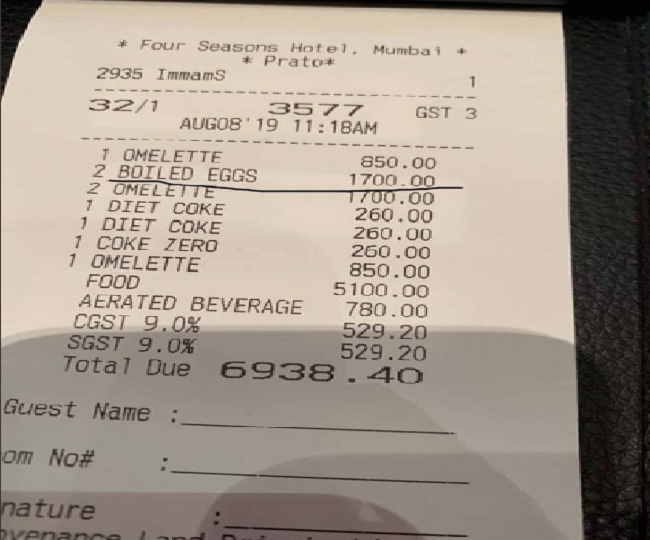 Another Rahul Bose incident, customer charged Rs 1,700 for two boiled eggs