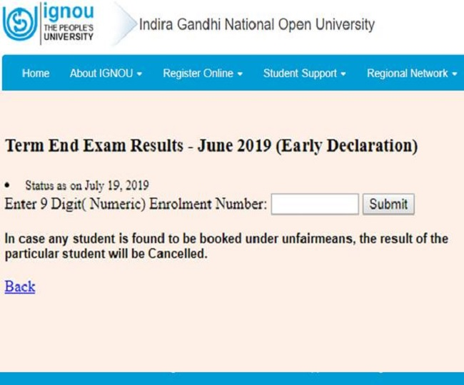 IGNOU June 2019 Result declared today, here's how to check