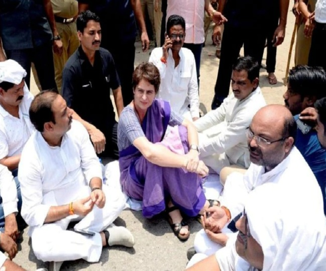 Priyanka detained enroute violence-hit Sonbhadra, refuses to leave without meeting victims' kin