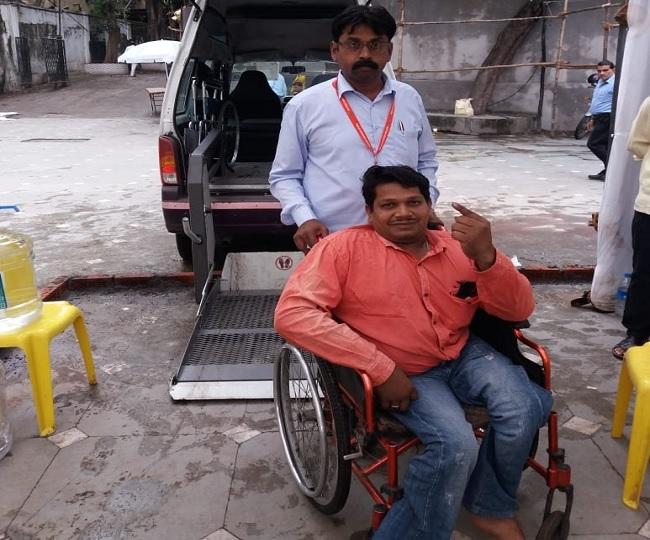 Image result for handicapped Voter Turnout Till 10am in Maharashtra