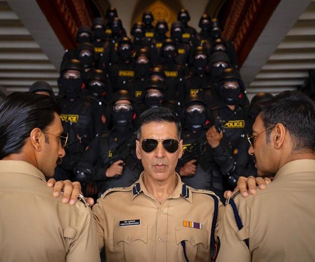 'Sooryavanshi': Akshay Kumar poses with 'Desi Avengers of Cop Universe' Ranveer Singh and Ajay Devgn