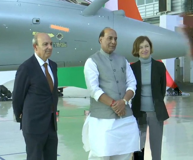 'It is a deterrent, not a sign of aggression': Rajnath Singh as India gets its first Rafale