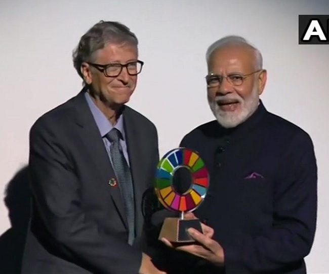 Prime Minister Modi receives award for Swachh Bharat programme