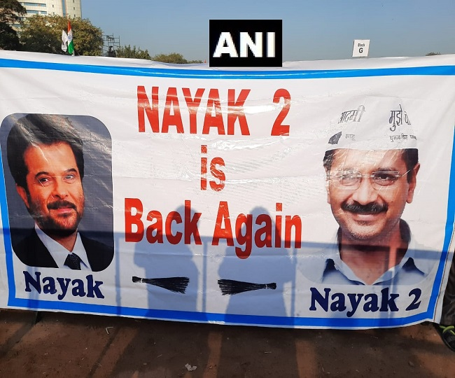 'Nayak 2 is back again': Posters seen at Kejriwal's oath-taking ceremony in Delhi's Ramlila Maidan