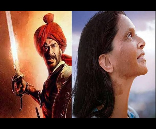 Chhapaak vs Tanhaji BO Collection Day 4: Ajay's film cruises towards 100 crore mark; Deepika-starrer lingers at Rs 21 crore