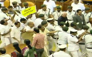 High-voltage drama in Kerala Assembly; blocked by Congress MLAs, Governor escorted by marshals