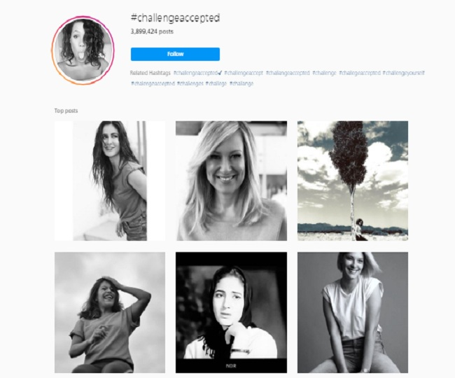 The hashtag 'Challenge Accepted' creates a new-age black and white display of women power