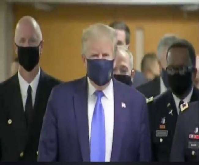 'It's a great thing': In a first, US President Donald Trump wears mask in public amid coronavirus crisis