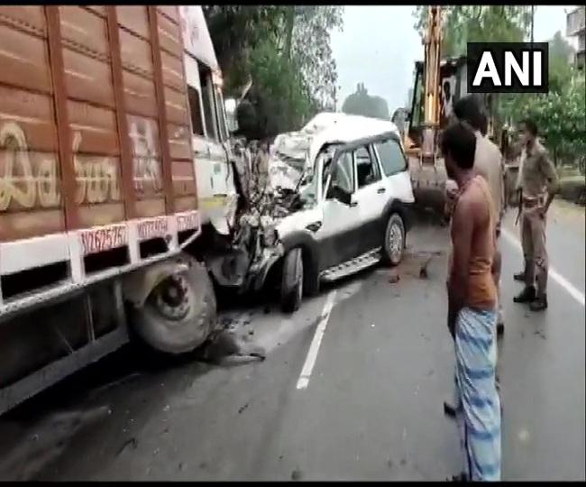 Two children among nine killed in car-truck collision in Uttar Pradesh's Pratapgarh