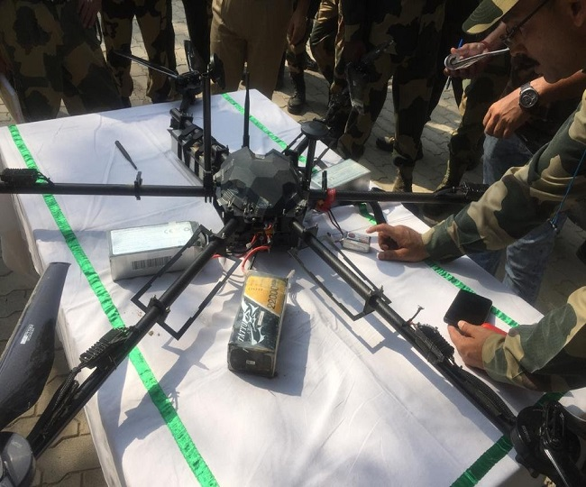 Pakistani drone, carrying rifles and grenades, shot down by BSF in Jammu and Kashmir