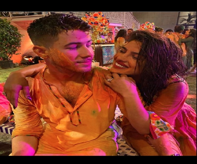 Nick Jonas and Priyanka Chopra Celebrate Holi in India