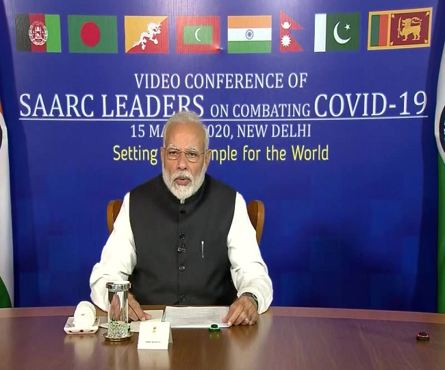 Image result for PM interacts with SAARC leaders