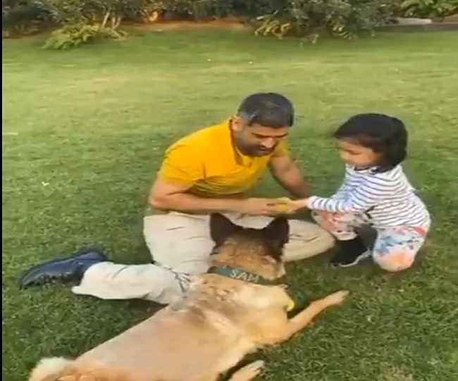 MS Dhoni's dog disobeys him but follow wife Sakshi's command obediently | Watch