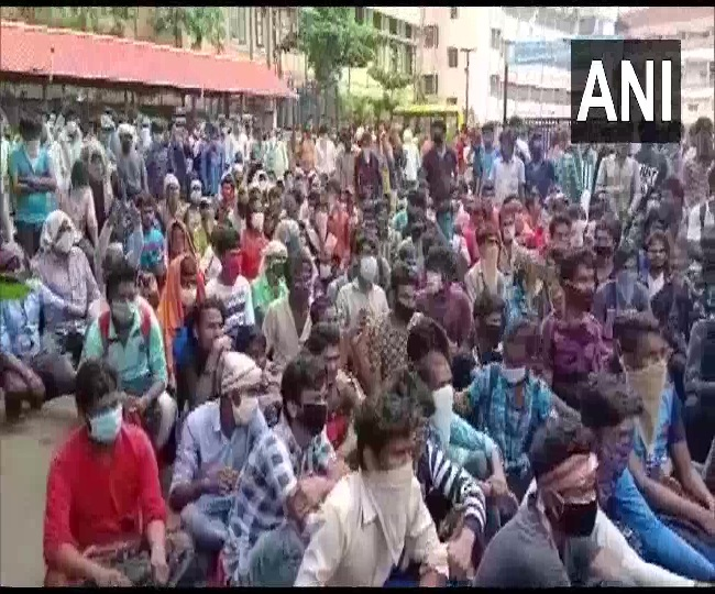 Coronavirus News: 400 migrant workers protest in Mangaluru demanding return to native places | Highlights