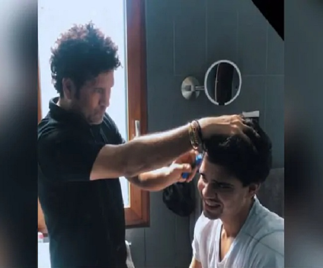 'As a father, you need to do everything': Sachin Tendulkar turns hairdresser for son Arjun amid lockdown | Watch