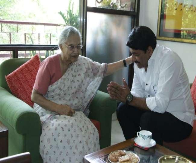 उत्तर-पूर्व दिल्ली से जीतने के बाद मनोज तिवारी ने की शीला दीक्षित से मुलाकात, लिया आशीर्वाद