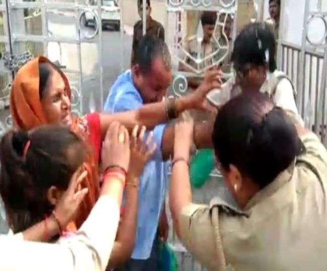Image result for विधानसभा के सामने पीड़ित परिवार ने किया आत्मदाह का प्रयास