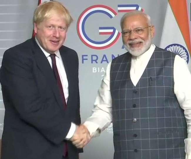 दुनिया के बड़े नेताओं को साधने फ्रांस पहुंचे PM Modi, ब्रिटेन के प्रधानमंत्री जॉनसन से की मुलाकात