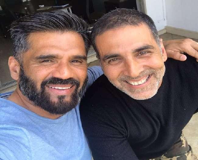 akshay kumar meet suniel shetty and remembers old days