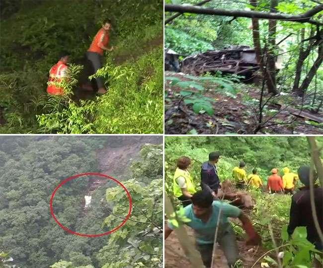 Image result for सर्च ऑपरेशन जारी महाराष्ट्र बस एक्सीडेंट