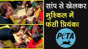 सांप से खेलकर मुसीबत में फंसीं प्रियंका गांधी, चुनाव आयोग जाएगा PETA
