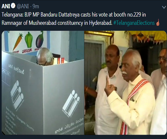 Bandaru Dattatreya casts his vote