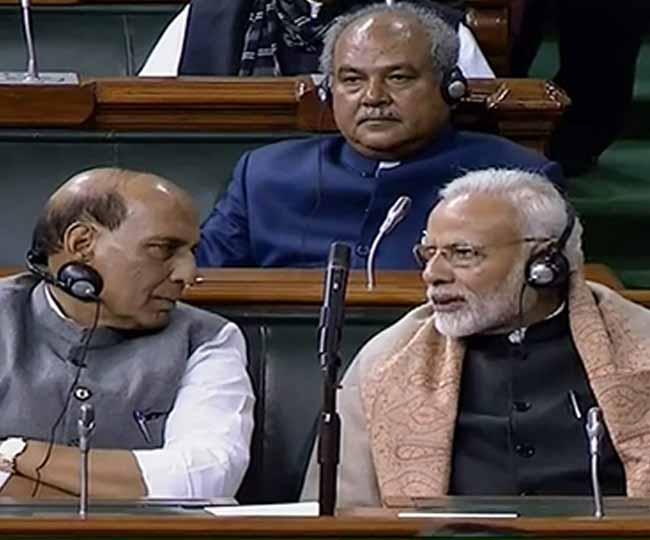 PM Narendra Modi and Rajnath Singh in Parliament