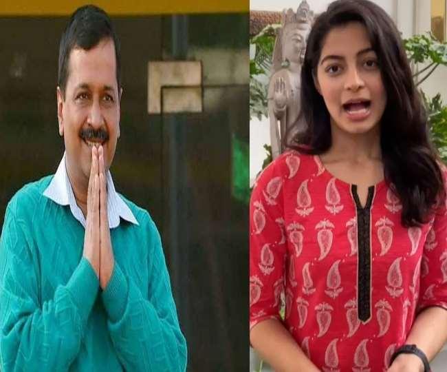 सीएम अरविंद केजरीवाल और मिस दिल्ली 2019 मानसी सहगल की फाइल फोटो।