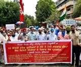 मोदी सरकार की नीतियों के खिलाफ 10 ट्रेड यूनियन ने मिनी सचिवालय में किया रोष प्रदर्शन