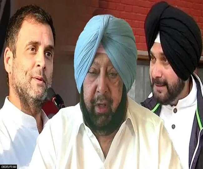 कांग्रेस नेता राहुल गांधी, कैप्टन अमरिंदर सिंह व नवजोत सिंह सिद्धू (फाइल फोटो)