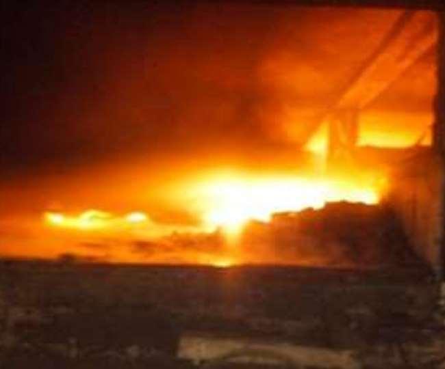 पानीपत में फैक्ट्री में आग लगने की घटना।