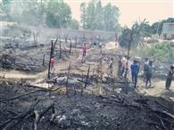 खाना बनाते हवा चलने से निकली आग की चिंगारी, चब्बेवाल में 60 से ज्यादा झुग्गिया जलकर राख