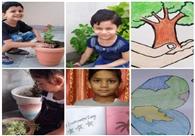 गीता भवन स्कूल के बच्चों ने घर पर बनाए स्लोगन