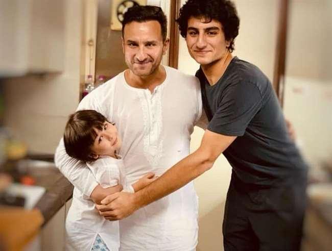 Saif Ali Khan with Ibrahim Ali Khan and Taimur Ali Khan. Photo- Instagram