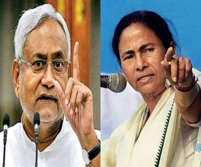 बिहार के मुख्यमंत्री नीतीश कुमार एवं पश्चिम बंगाल की मुख्यमंत्री ममता बनर्जी। फाइल तस्वीरें।